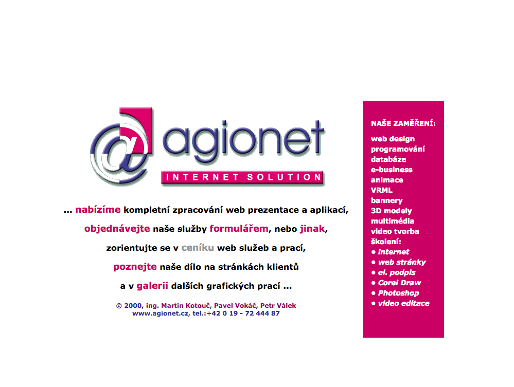 agionet web historie 2000 2001