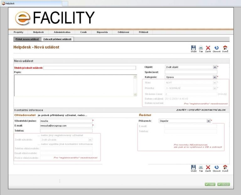 Facility manager - Helpdesk system
